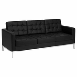 HERCULES Lacey Series Contemporary Black Leather Sofa with Stainless Steel Frame - ZB-LACEY-831-2-SOFA-BK-GG