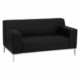 HERCULES Definity Series Contemporary Black Leather Love Seat with Stainless Steel Frame - ZB-DEFINITY-8009-LS-BK-GG