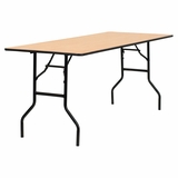 72 Rectangular Wood Folding Banquet Table with Clear Coated Finished Top - YT-WTFT30X72-TBL-GG
