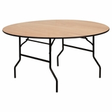 60 Round Wood Folding Banquet Table with Clear Coated Finished Top - YT-WRFT60-TBL-GG
