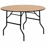 48 Round Wood Folding Banquet Table with Clear Coated Finished Top - YT-WRFT48-TBL-GG