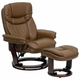 Contemporary Palimino Leather Recliner and Ottoman with Swiveling Mahogany Wood Base - BT-7821-PALIMINO-GG
