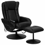 Massaging Black Leather Recliner and Ottoman with Leather Wrapped Base - BT-7672-MASSAGE-BK-GG