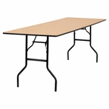 96 Rectangular Wood Folding Banquet Table with Clear Coated Finished Top - YT-WTFT30X96-TBL-GG