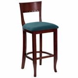 HERCULES Mahogany Finished Wood Bierdermeier Bar Stool - XU-DGW0014BARBIER-MAH-GG