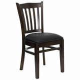 HERCULES Vertical Slat Back Walnut Wood Chair with Black Vinyl Seat - XU-DGW0008VRT-WAL-BLKV-GG