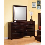 Phoenix Dresser with Mirror in Rich Deep Cappuccino - Coaster - 200413-14-SET