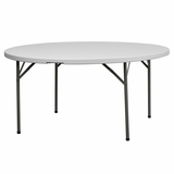 60 Granite White Round Plastic Folding Table - DAD-YCZ-154-GW-GG