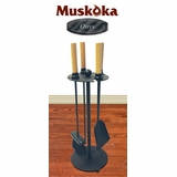 Muskoka Onyx Series 5-Piece Matte Black Fireplace Tool Set - Greenway Home Products - MTS102
