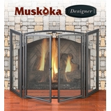 Muskoka Designer Series Matte Black Fireplace Screen with Operable Doors - Greenway Home Products - MFS500