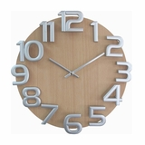 Wooden Wall Clock in Natural Wood / Silver - G10125