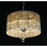 Heritage Satin Drum Shade Crystal Chandelier - UT60