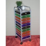 10 Drawer Rolling Storage with Multi Color drawers - 4D Concepts - 363013
