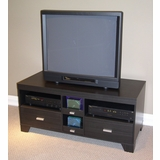 Large TV Stand in Black Wood Grain - 4D Concepts - 24706