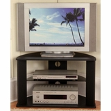 Corner TV Stand with Glass Shelf in Black - 4D Concepts - 64935