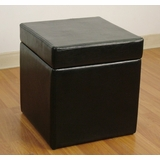 Faux Leather Box Ottoman with Lift Top in Black - 4D Concepts - 554664