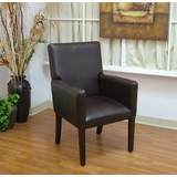 Deluxe Faux Leather Arm Chair in Brown - 4D Concepts - 555321