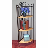 3 Tier Corner Bookcase in Wicker/Metal - 4D Concepts - 143023