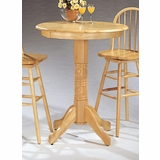 Round Solid Top Bar Table in Natural - Coaster