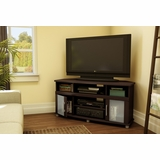 Corner TV Stand in Chocolate - City Life - South Shore Furniture - 4219690