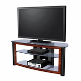 55 Flat Panel Plasma LCD HD TV Stand / Media Console Center in Glossy Black / Red Walnut - TVS-596430-5