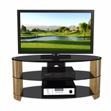 47 Flat Panel Plasma LCD HD TV Stand / Media Console Center in Black / Walnut - TVS-986-3