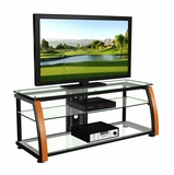 60 Flat Panel Plasma LCD HD TV Stand / Media Console Center in Black / Light Cherry Wood - TVS-6811400