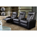 Home Theater Seating - 4 Seater in Black Leather Match - Coaster