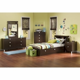 Kids Bedroom Furniture Set 3 in Chocolate - South Shore Furniture - 3259-BSET-3