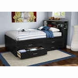 Full Size Captains Bed with Headboard in Black Onyx/Charcoal - Cosmos - South Shore Furniture - 3127209-093