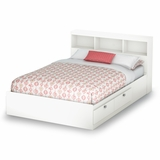 Full Size Mates Bed with Bookcase Headboard in Pure White - Sparkling - South Shore Furniture - 3260211-093