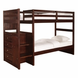 Chest End Step Twin/Twin Bunk Bed - Ranch Cappuccino - Powell Furniture - 396-037