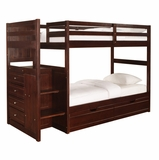Chest End Step Twin/Twin Bunk Bed with Underbed Dual Drawer Unit - Ranch Cappuccino - Powell Furniture - 396-BBED-1