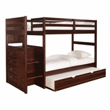 Chest End Step Twin/Twin Bunk Bed with Trundle - Ranch Cappuccino - Powell Furniture - 396-BBED-2