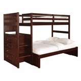 Chest End Step Twin/Full Bunk Bed - Ranch Cappuccino - Powell Furniture - 396-BBED-3