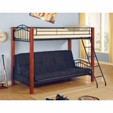 Bunk Bed - Twin / Futon Bunk Bed in Black Metal / Dark Oak - Coaster