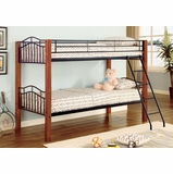 Bunk Bed - Twin / Twin Size Bunk Bed in Black Metal / Dark Oak - Coaster