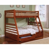 Bunk Bed - Twin / Full Size Bunk Bed in Cherry - Coaster