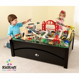 Metropolis Table and Train Set in Espresso / Multi-Color - KidKraft Furniture - 17935