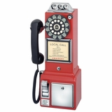 Retro Phone - 1950's Pay Phone - Red - Crosley - CR56-RE
