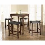 5-Piece Pub Dining Set with Turned Leg and Upholstered Saddle Stools in Vintage Mahogany Finish - Crosley Furniture - KD520012MA