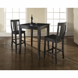 3-Piece Pub Dining Set with Cabriole Leg and Shield Back Stools in Black Finish - Crosley Furniture - KD320002BK