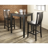 3-Piece Pub Dining Set with Tapered Leg and School House Stools in Black Finish - Crosley Furniture - KD320007BK