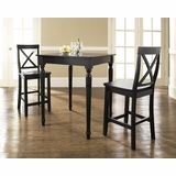 3-Piece Pub Dining Set with Turned Leg and X-Back Stools in Black Finish - Crosley Furniture - KD320009BK