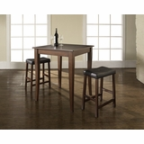 3-Piece Pub Dining Set with Cabriole Leg and Upholstered Saddle Stools in Vintage Mahogany Finish - Crosley Furniture - KD320004MA