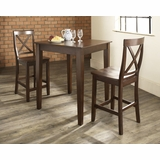 3-Piece Pub Dining Set with Tapered Leg and X-Back Stools in Vintage Mahogany Finish - Crosley Furniture - KD320005MA