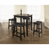 5-Piece Pub Dining Set with Cabriole Leg and Upholstered Saddle Stools in Black Finish - Crosley Furniture - KD520004BK