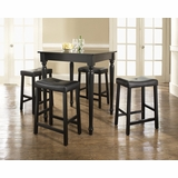 5-Piece Pub Dining Set with Turned Leg and Upholstered Saddle Stools in Black Finish - Crosley Furniture - KD520012BK