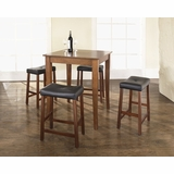 5-Piece Pub Dining Set with Cabriole Leg and Upholstered Saddle Stools in Classic Cherry Finish - Crosley Furniture - KD520004CH