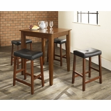 5-Piece Pub Dining Set with Tapered Leg and Upholstered Saddle Stools in Classic Cherry Finish - Crosley Furniture - KD520008CH